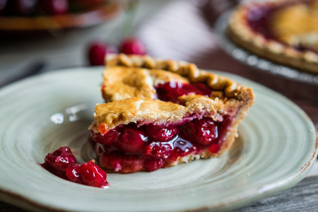 Photo for Homemade cherry pie on rustic background - Royalty Free Image