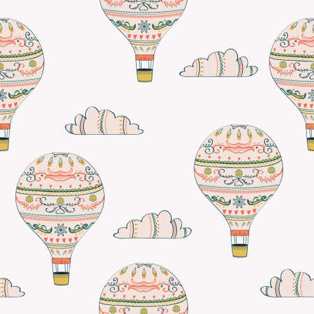 Illustration for Vector seamless pattern with hot air balloon and clouds - Royalty Free Image