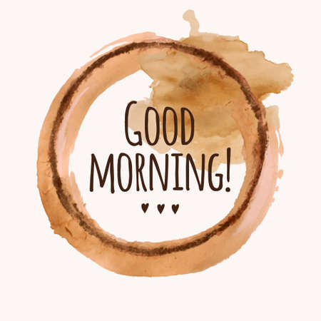 Illustration for Vector illustration with Good morning phrase and pour coffee blot - Royalty Free Image