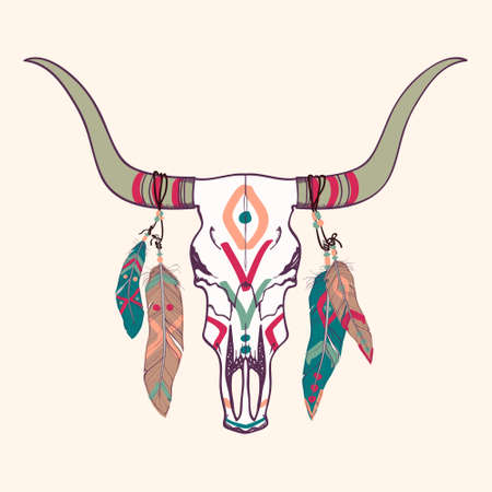 Illustration for Vector illustration of bull skull with feathers - Royalty Free Image