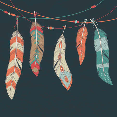 Illustration for Vector colorful set of ethnic decorative feathers hanging on threads - Royalty Free Image