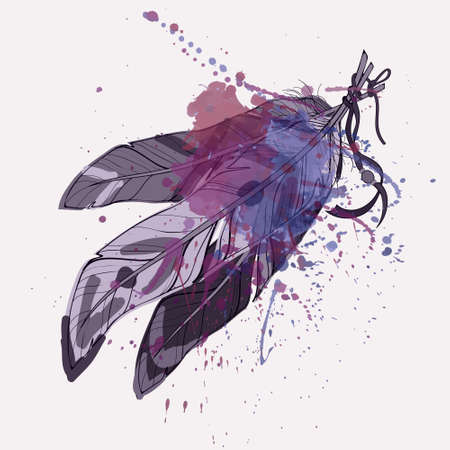 Illustration pour Vector illustration of ethnic decorative feathers with watercolor splash - image libre de droit