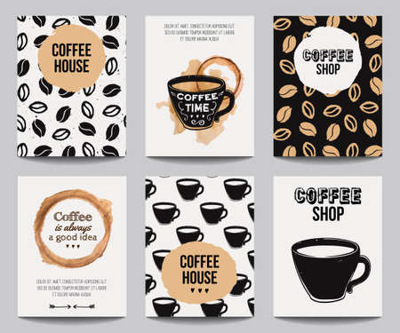 Ilustración de Vector set of modern posters with coffee backgrounds. Trendy hipster templates for flyers, banners, invitations, restaurant or cafe menu design. - Imagen libre de derechos
