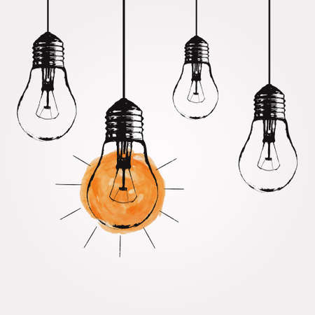 Ilustración de Vector grunge illustration with hanging light bulbs and place for text. Modern hipster sketch style. Unique idea and creative thinking concept. - Imagen libre de derechos