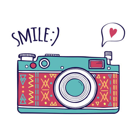 Ilustración de Vector illustration with cute retro photo camera, typography phrase Smile with speech bubble and heart. Modern design - Imagen libre de derechos