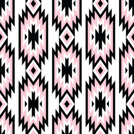 Illustration for Vector trendy seamless decorative ethnic pattern. Pink and black colors. Boho geometric style. - Royalty Free Image