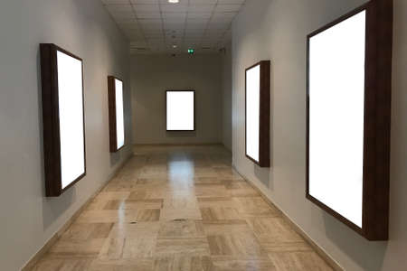 Foto de Multiple empty blank poster screens at a hallway ideal for digital kiosk visual  communication, video wall, signage and  copy space - Imagen libre de derechos