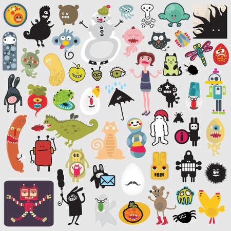 Big set of different cute monsters #2. Vector icons for your design.
