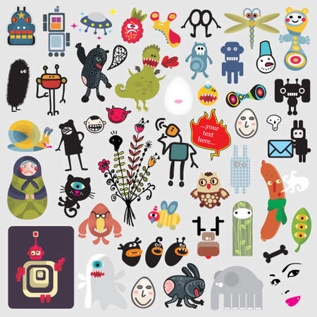 Big set of different cute monsters #3. Vector icons for your design.