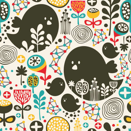Cool seamless pattern with birds, flowers and geometric elements