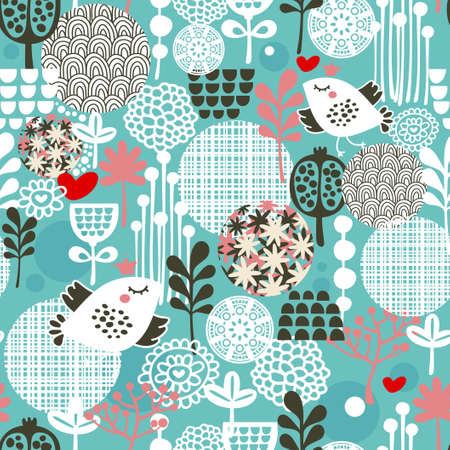 Photo for Cute seamless pattern with  birds, hearts and flowers texture. - Royalty Free Image