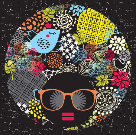 Photo for Black head woman with strange pattern on her hair  illustration  - Royalty Free Image