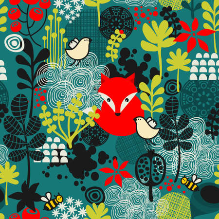 Birds, fox and flowers seamless pattern. Vector texture.