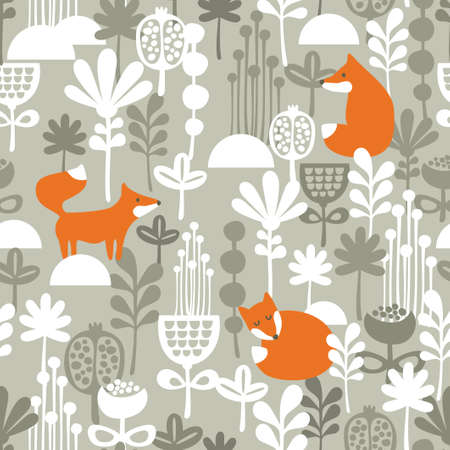 Illustration pour Fox in winter forest seamless pattern. Vector illustration. - image libre de droit