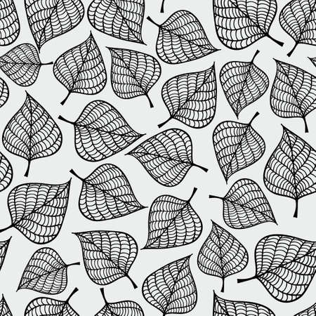 Illustration pour Decorative seamless black and white pattern with autumn leaves. Endless repeated texture. Template for design textile, backgrounds, wrappers, wallpaper. - image libre de droit