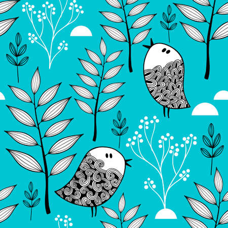 Illustration pour Winter in the forest vector illustration. Seamless pattern with cold background and doodle birds. - image libre de droit