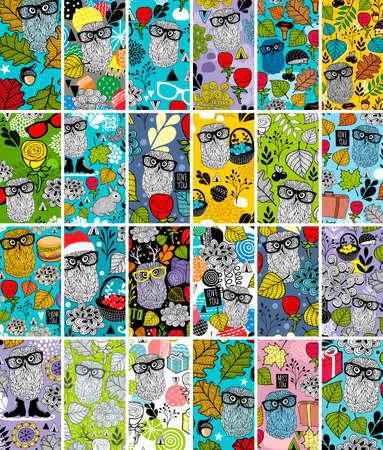 Illustration pour Big set of vertical business cards with floral image and cute owls. - image libre de droit