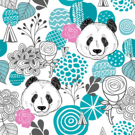 Illustration for Colorful seamless pattern with abstract circles and panda heads. Endless background with panda. Vector illustration for children and adults. - Royalty Free Image