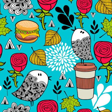 Illustration pour Food and birds romantic pattern on blue background. - image libre de droit