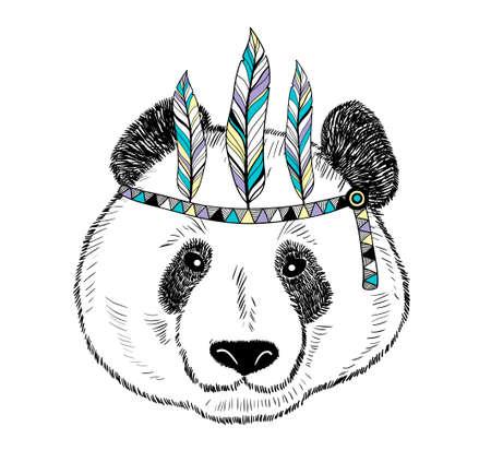 Illustration pour Cute panda on white background illustration. - image libre de droit