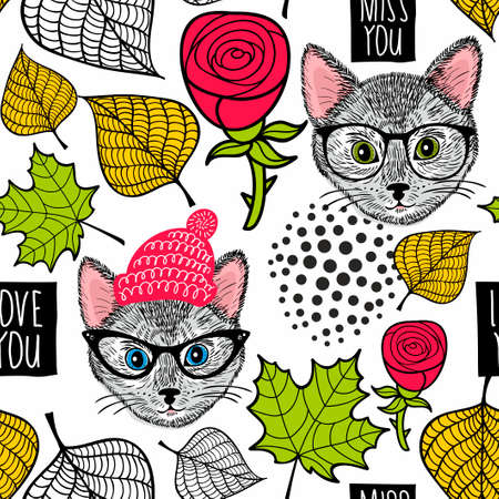 Illustration pour Seamless background with cute cats and roses. - image libre de droit