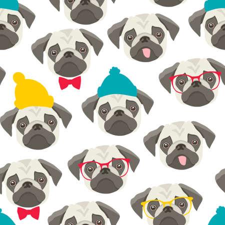 Illustration pour Endless pattern with pugs on white background. - image libre de droit