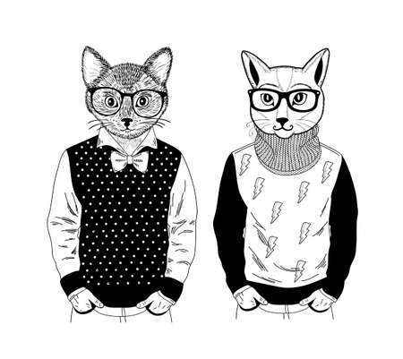 Illustrazione per Two friendly cat pets in pose of fashion models. Creative set of hand drawn animals with human body. Vector Illustration for coloring book. - Immagini Royalty Free