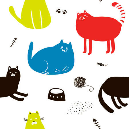 Illustration for Colorful seamless pattern with cats. - Royalty Free Image