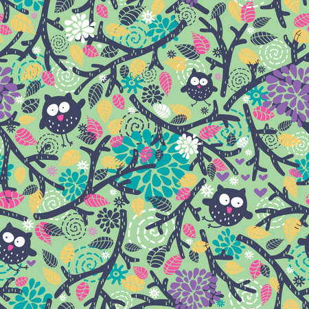 Illustration pour Creative children pattern with funny owls and floral elements. Vector seamless background. - image libre de droit