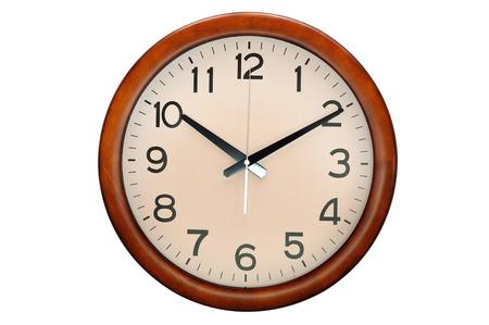 Foto de Circle clock wooden frame, 10 O clock - Imagen libre de derechos