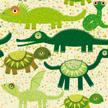 Cheerful seamless pattern with crocodile, turtle, dragon iguana, snake Green background vector
