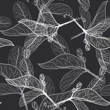 Illustration for Leaves contours on black background. floral seamless pattern, hand-drawn. - Royalty Free Image