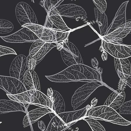 Illustration pour Leaves contours on black background. floral seamless pattern, hand-drawn. - image libre de droit