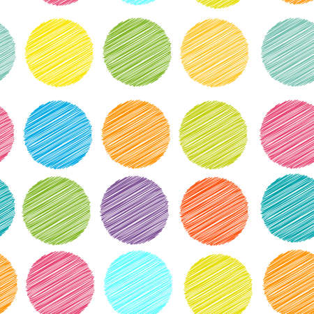 Photo pour rainbow color Polka dot background, seamless pattern. embroidery stitches. scribble dot on white background. Vector illustration - image libre de droit