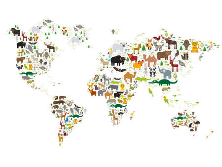 Foto de Cartoon animal world map for children and kids, Animals from all over the world on white background. Vector illustration - Imagen libre de derechos