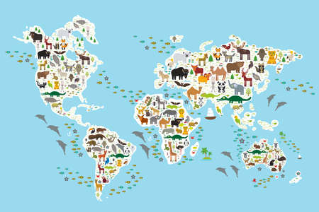 Photo pour Cartoon animal world map for children and kids, Animals from all over the world, white continents and islands on blue background of ocean and sea. Vector illustration - image libre de droit