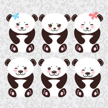 Kawaii funny panda white muzzle with pink cheeks and big black eyes. Vector illustration