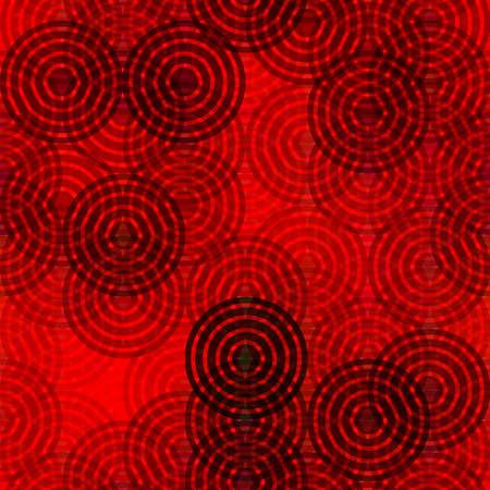 Illustration pour Abstract rings round motif geometric background Vintage red black decoration Textile print, web page fill. - image libre de droit