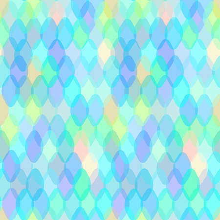 Illustration pour Abstract geometric seamless pattern with oval ellipse and squama decorative contemporary elements. pink purple blue aqua lilac geometric print, hipster trendy backdrop. Vector illustration - image libre de droit