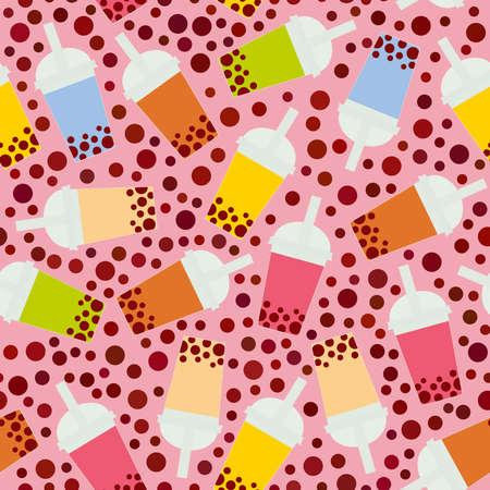 Illustration pour Seamless pattern Bubble Tea with different fruits and berries. Milk Cocktails in plastic cup, tubule. Different sorts of Bubble Tea Cocktails. pastel colors on pink background. Vector illustration - image libre de droit