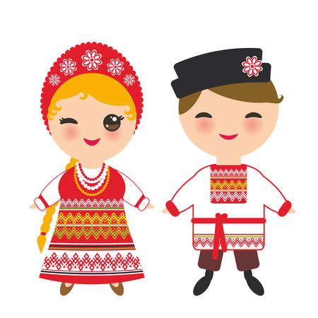 Illustration pour Slavic boy and girl in a red sundress and white shirt with embroidery, hair braided braids Kawaii child in national costume. Cartoon children in traditional dress isolated on white background. Vector illustration - image libre de droit