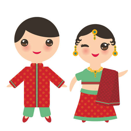 Illustration pour Indian Kawaii boy and girl in national costume. Cartoon children in traditional India dress sari isolated on white background. Vector illustration - image libre de droit