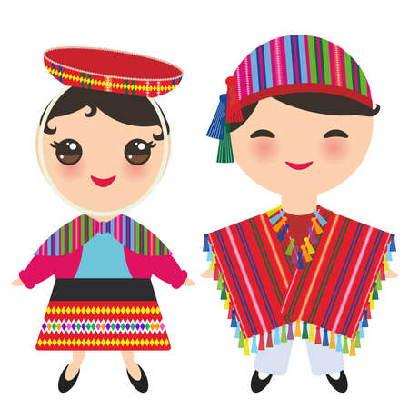 Illustration pour Peruvian boy and girl in national costume and hat. Cartoon children in traditional dress isolated on white background. Vector illustration - image libre de droit