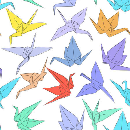 Ilustración de Japanese Origami paper cranes symbol of happiness, luck and longevity, sketch seamless pattern. purple blue yellow orange red brown green line on white background. Vector illustration - Imagen libre de derechos