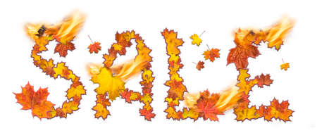 Word Sale with flame made of bright maple leaves on white background for signboard or advertisement.