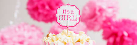 Photo for It's a girl sign in a popcorn bag at the baby shower party.  Paper flowers background. Baby shower celebration concept. Festive party background. Horizontal, wide screen format, banner format - Royalty Free Image