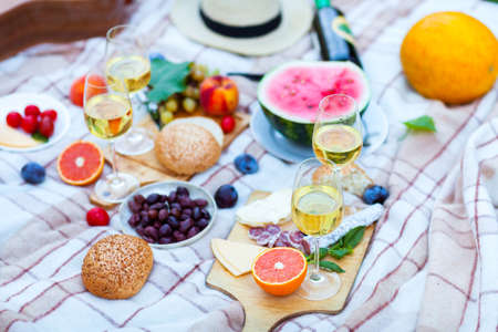Photo for Summer Picnic Basket on the Green Grass. Food and drink concept. Friends Party time - Royalty Free Image