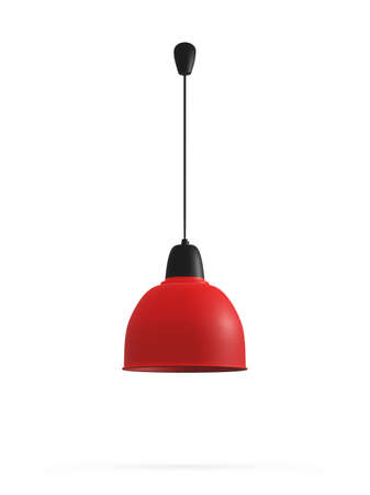 Foto de Modern red hanging lamp, isolated on white background. - Imagen libre de derechos