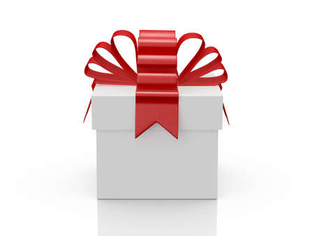 Foto de Single white gift box with red ribbon, front view, isolated on white background. - Imagen libre de derechos