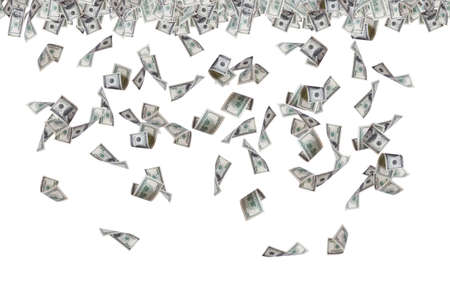 Foto de Finance concept, one hundred dollar banknotes flying, raining and falling down, isolated on white background. - Imagen libre de derechos